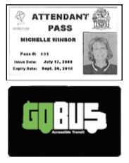 Image of an Attendant Pass and a GoBus Go Card.