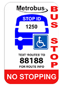Image of standard Accessible Low Floor bus stop sign.
