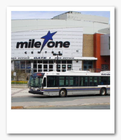 Image of Metrobus charter in front of Mile One Centre
